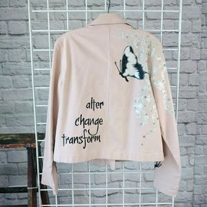 HP!🍷Butterfly Vibes Graphic Blush Denim Jacket
